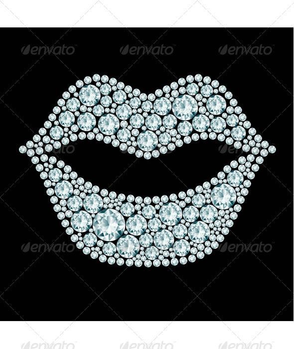 Lips made of Diamonds - Miscellaneous Vectors