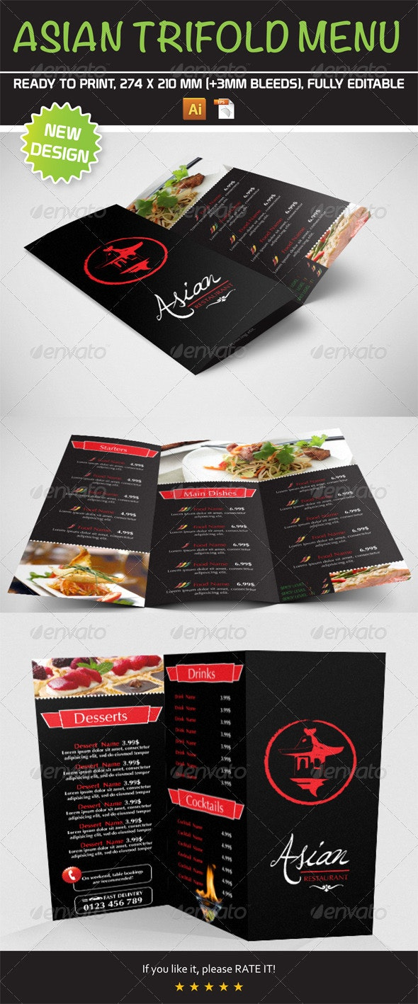 Asian Trifold Menu Template - Food Menus Print Templates