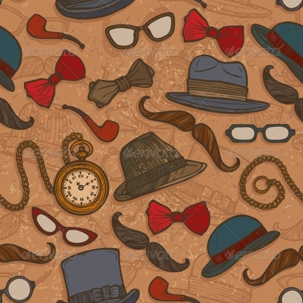 Vintage Hats and Glasses Color Seamless Pattern - Backgrounds Decorative