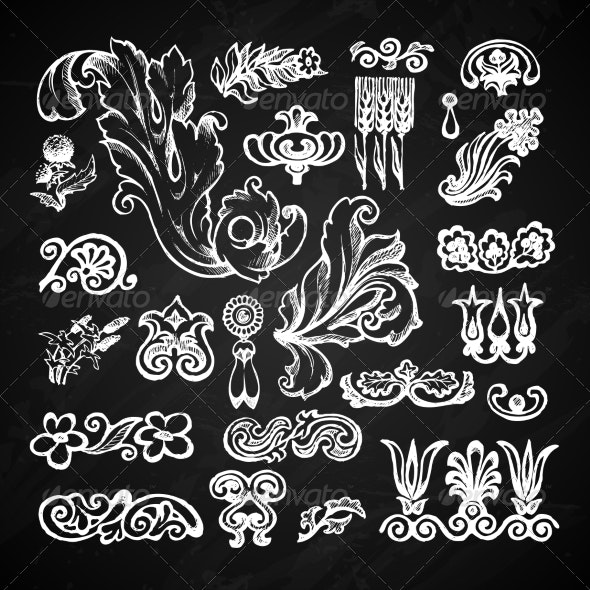 Floral Chalkboard Set - Decorative Symbols Decorative