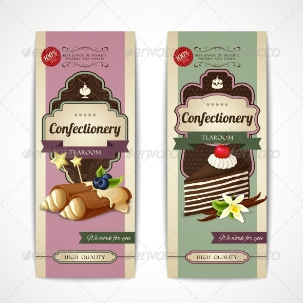 Sweets Vintage Verticle Banners - Food Objects