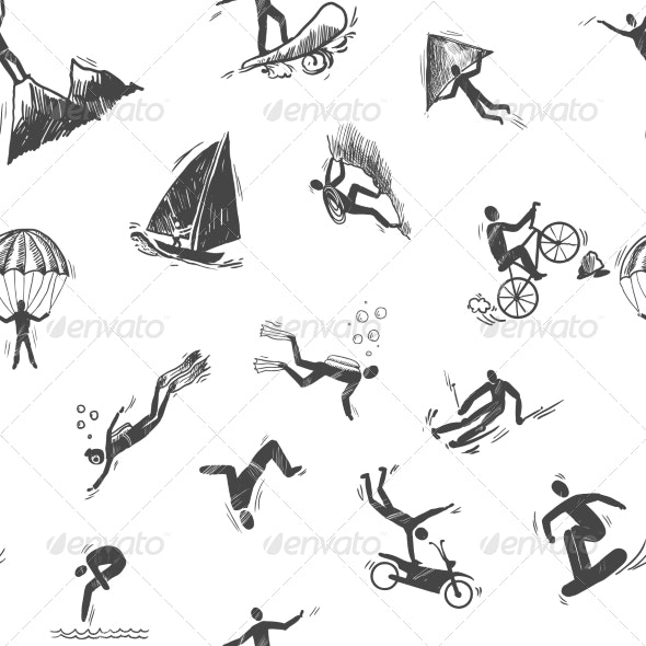 Seamless Extreme Sports Icon  - Sports/Activity Conceptual
