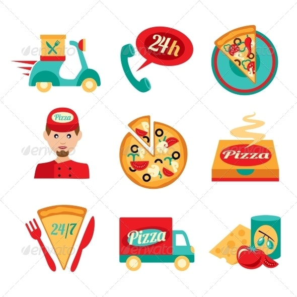 Pizza Fast Delivery Icons Set - Business Icons