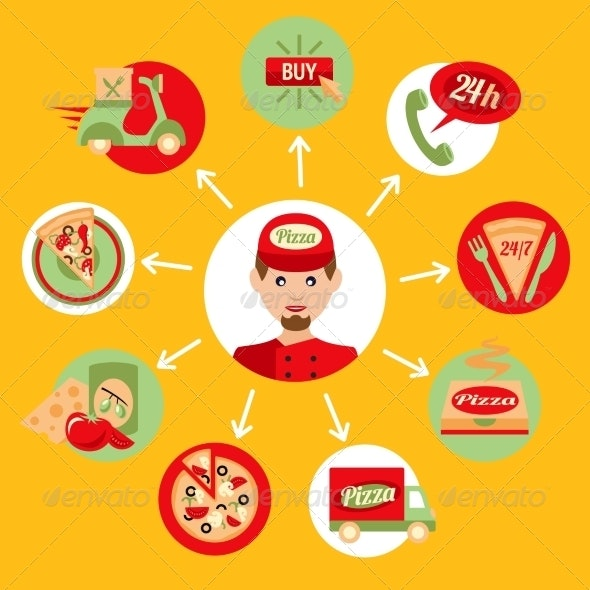 Pizza Delivery Boy Icons Set - Concepts Business