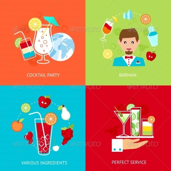 Cocktail  Icons Set - Industries Business