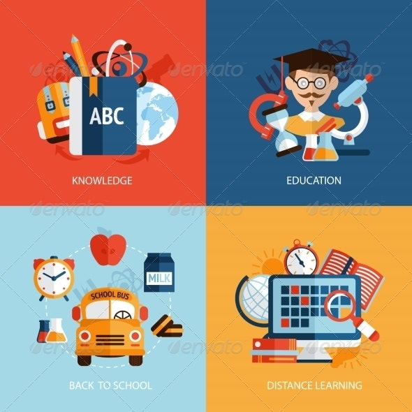 Education Icons Set - Industries Business