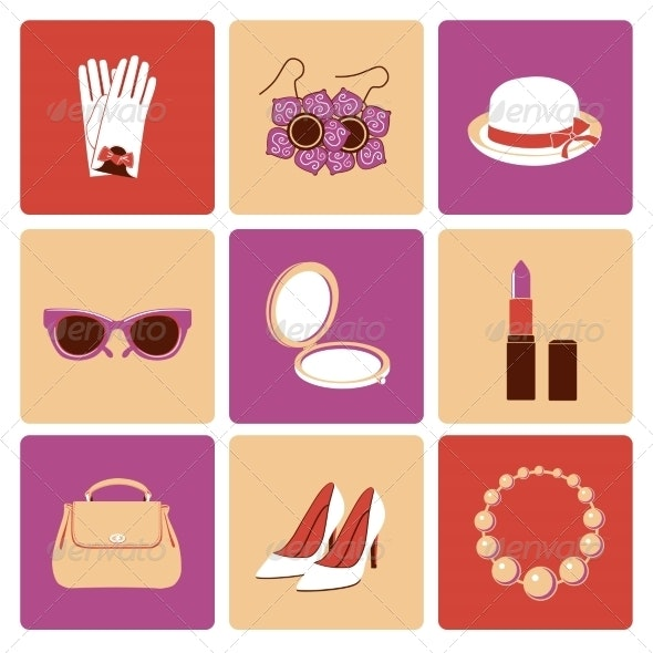 Woman Accessories Flat Icon Set - Retail Commercial / Shopping