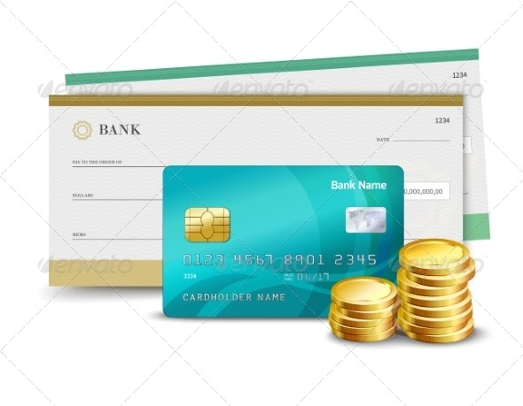 Credit Card Check and Coins - Retail Commercial / Shopping