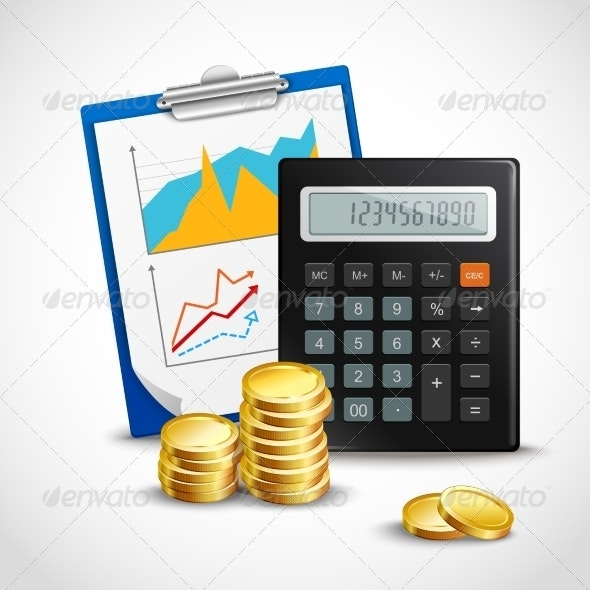 Calculator and Golden Coins - Concepts Business