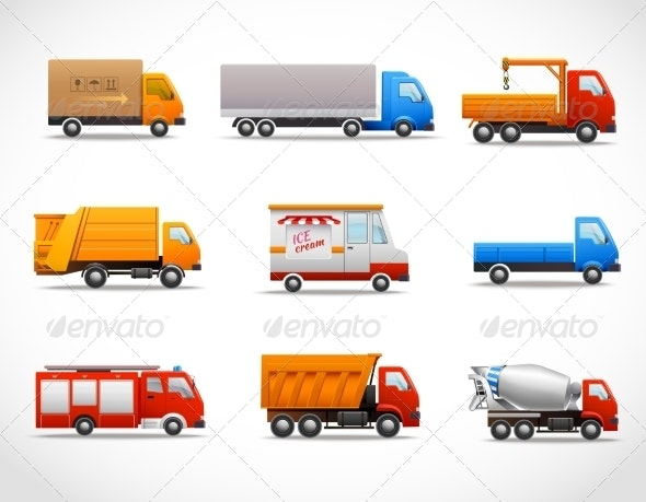 Realistic Truck Icons - Technology Icons