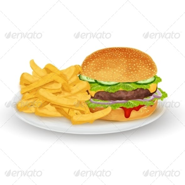 Hamburger on Plate