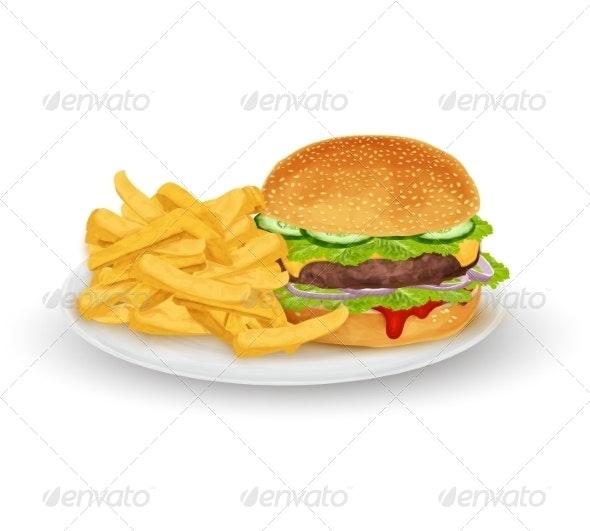 Hamburger on Plate - Food Objects