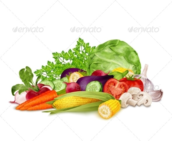 Fresh Vegetables on White - Food Objects