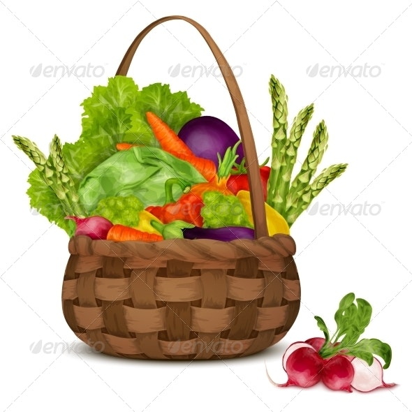 Vegetables in Basket - Food Objects