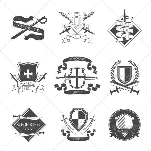 Sword and Shield Label - Miscellaneous Vectors