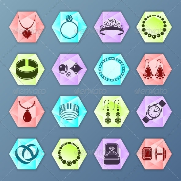 Jewelry Icon Hexagon - Web Technology