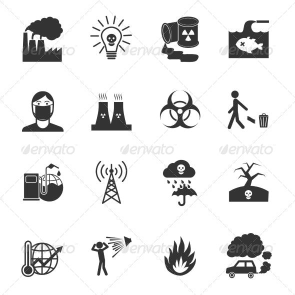 Pollution Icons Set - Technology Icons