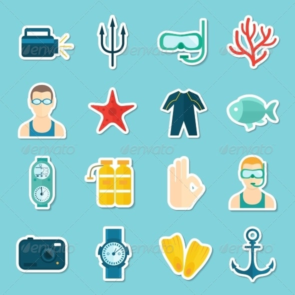 Diving Icons Set - Miscellaneous Icons