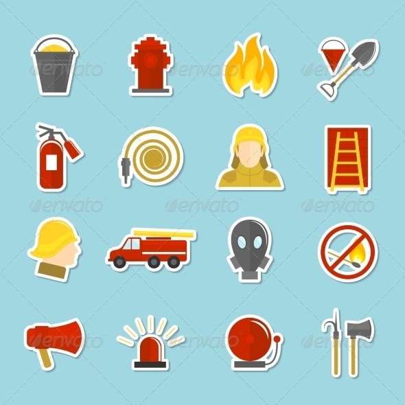 Firefighting Icons Stickers - Web Technology