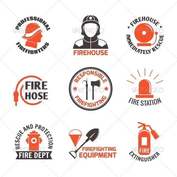 Firefighting Label Set - Web Elements Vectors