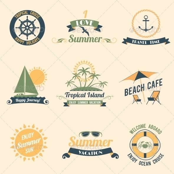 Summer Sea Retro Labels - Travel Conceptual