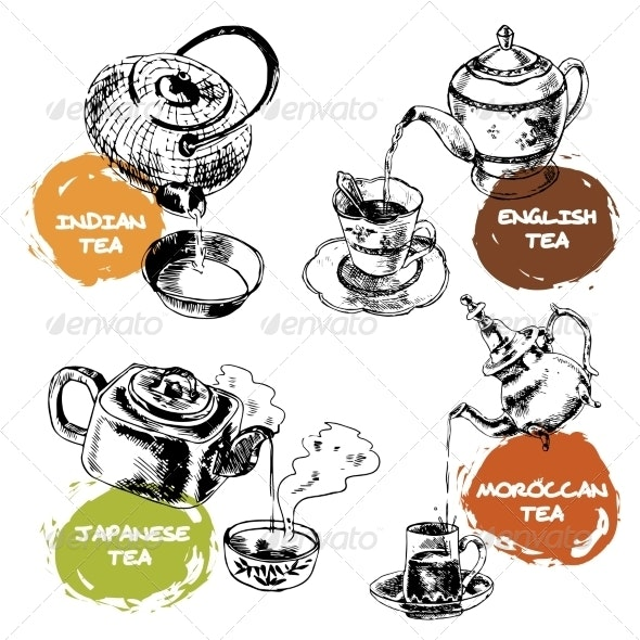 Teapot and Cups Icons Set - Food Objects