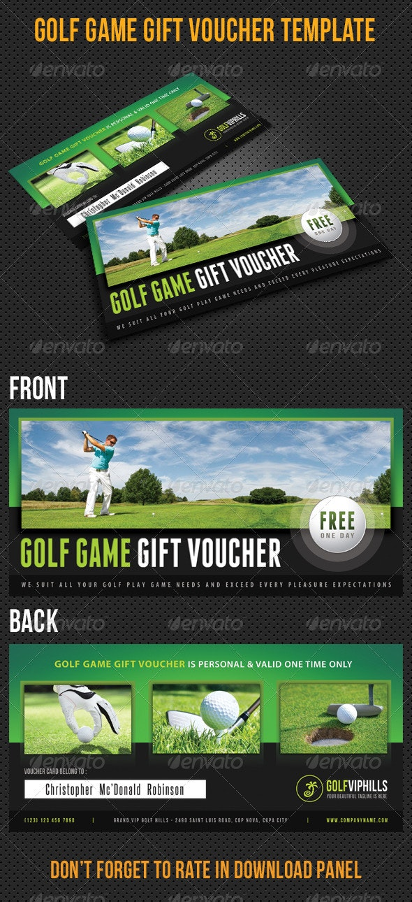 Golf Game Gift Voucher V11 - Cards & Invites Print Templates