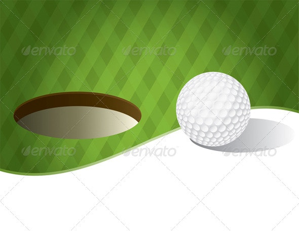 Golf Ball on a Putting Green Background - Sports/Activity Conceptual