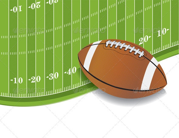 American Football Field and Ball Background - Sports/Activity Conceptual