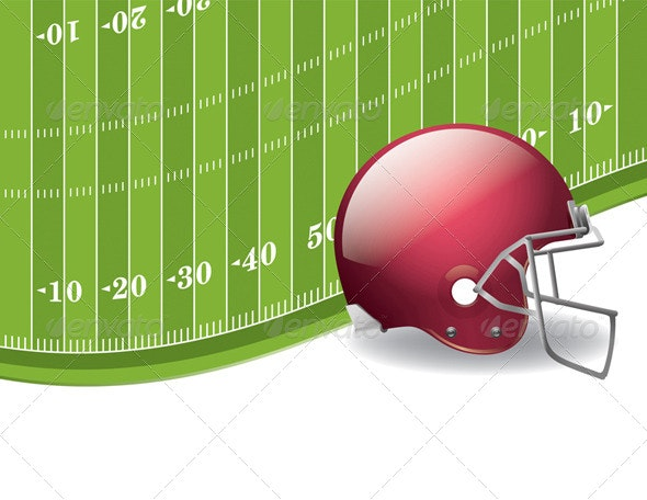 American Football Field and Helmet Background - Sports/Activity Conceptual