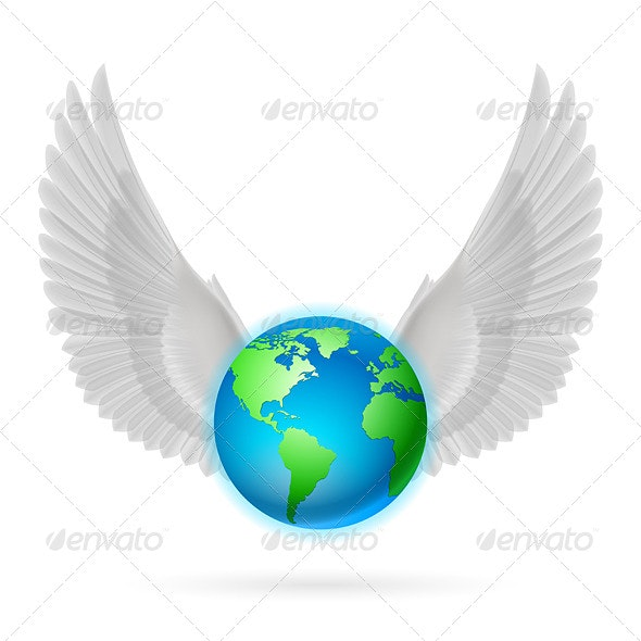 Globe with White Wings on White - Travel Conceptual