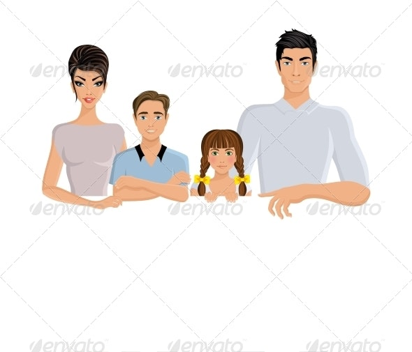 Horizontal Family Banner  - People Characters