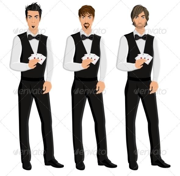 Man Casino Dealer Portrait Set - People Characters