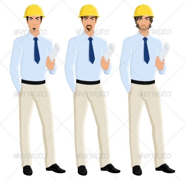 Man Engineer Portrait Set - People Characters