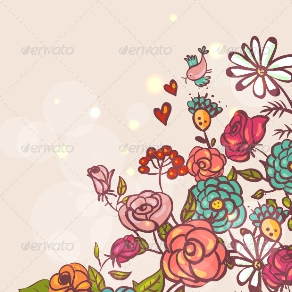 Floral Background with Roses and Birds - Patterns Decorative