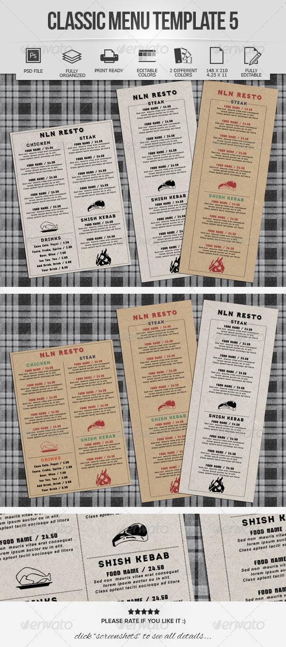 Classic Menu Template 5 - Food Menus Print Templates