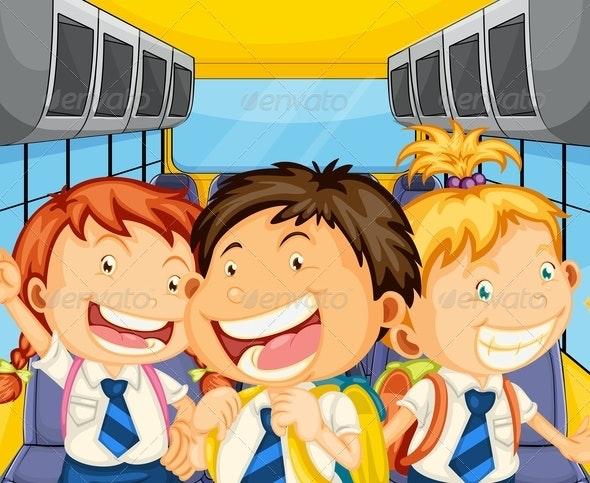 Happy Kids Inside the Schoolbus - People Characters