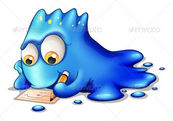 Blue Monster Writing - Monsters Characters