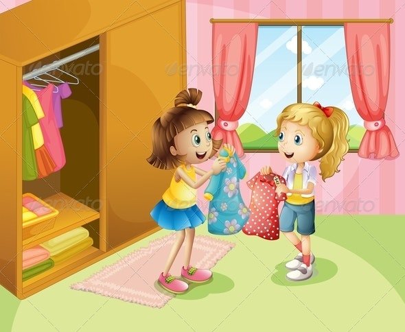 Two Girls Showing Their Clothes - People Characters