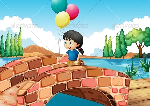 Girl with Three Balloons Walking Along a Bridge - People Characters
