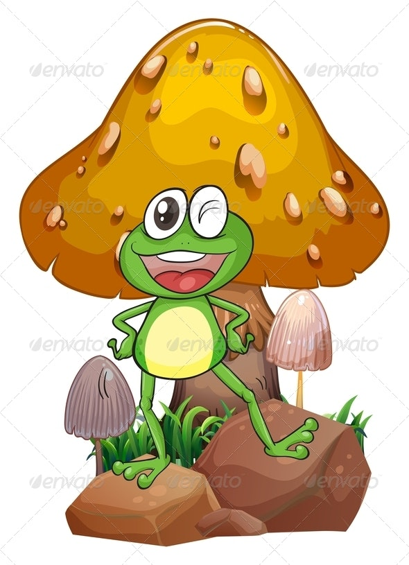Smiling Frog Near a Giant Mushroom - Animals Characters
