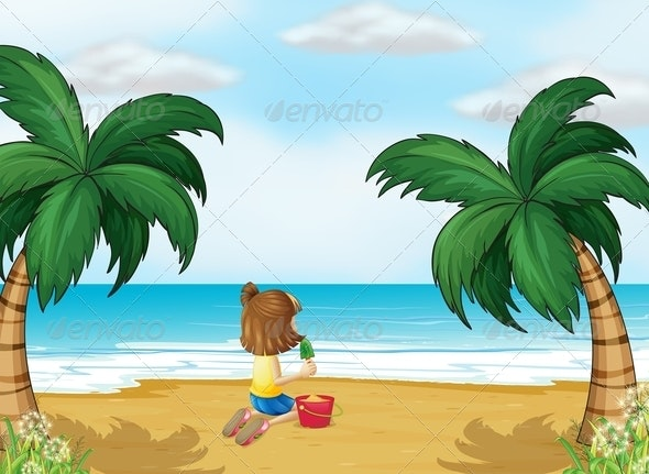 Little Girl Playing at the Beach Alone - People Characters