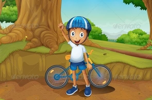 Young Biker in the Forest - People Characters