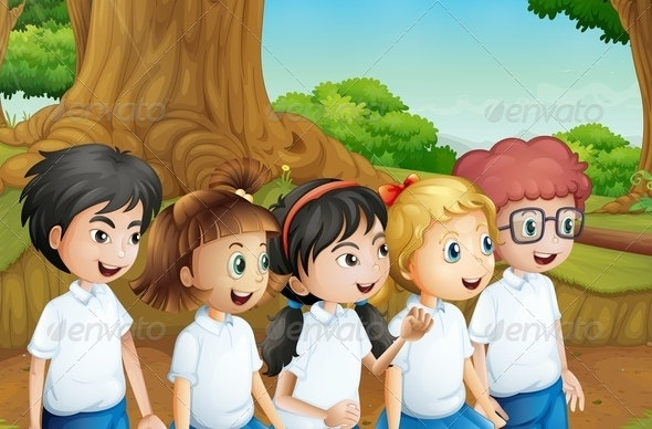 Group of Students in the Forest - People Characters