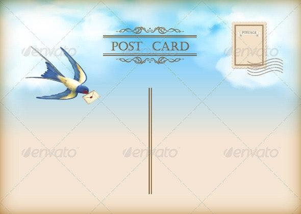 Sky Bird Letter Mail Postcard - Travel Conceptual