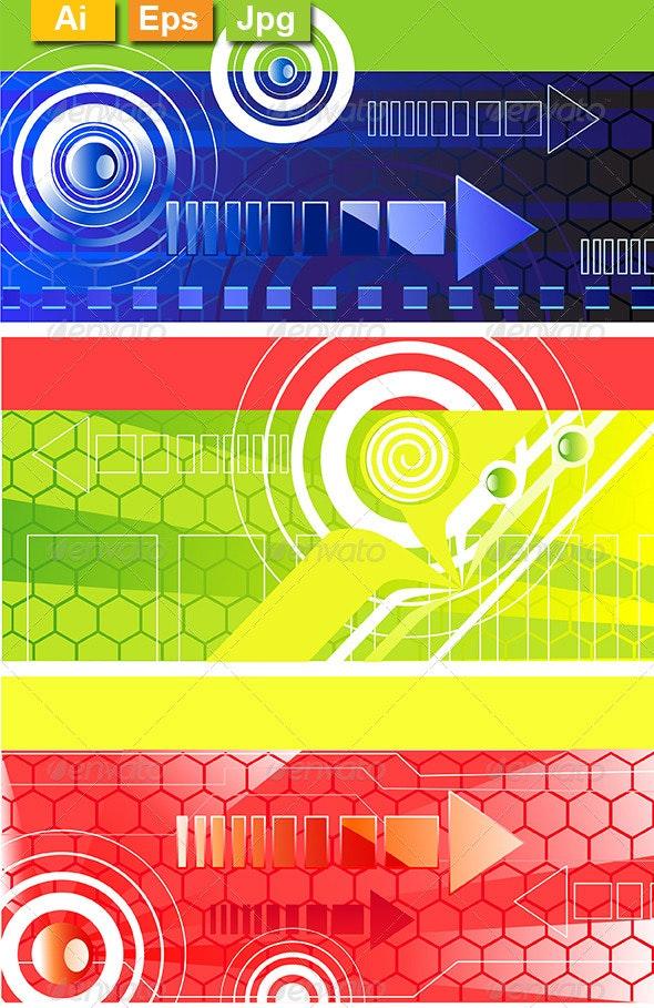 Horizontal Banners with Symbol Arrows - Web Elements Vectors
