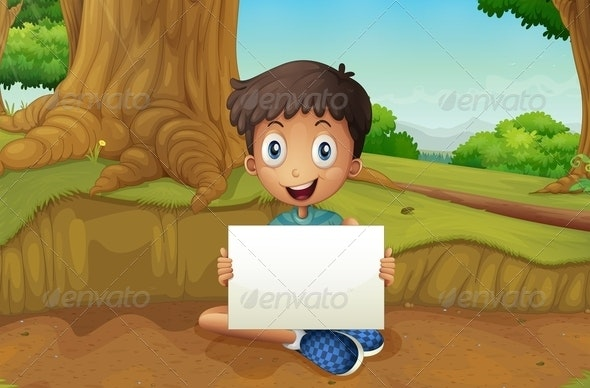 Boy Holding an Empty Signboard - People Characters
