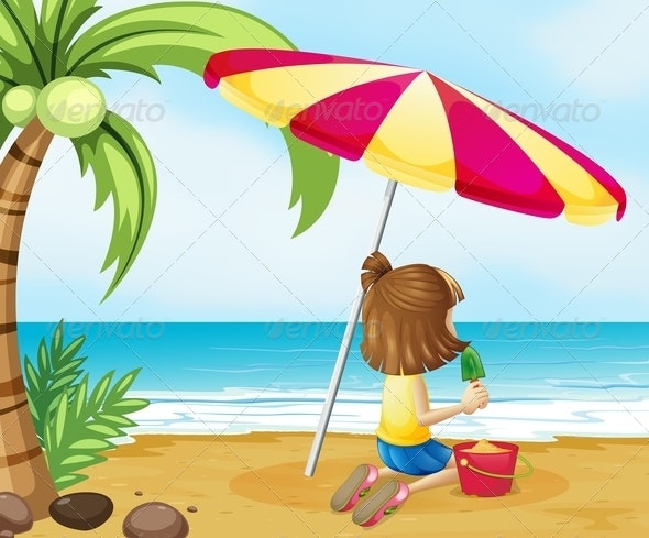 Young Girl Playing with a Sand Castle at the Beach - People Characters