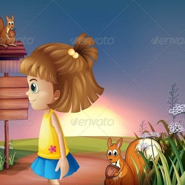 Young Girl and Two Squirrels by an Empty Sign