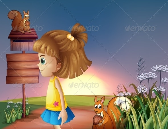 Young Girl and Two Squirrels by an Empty Sign - People Characters